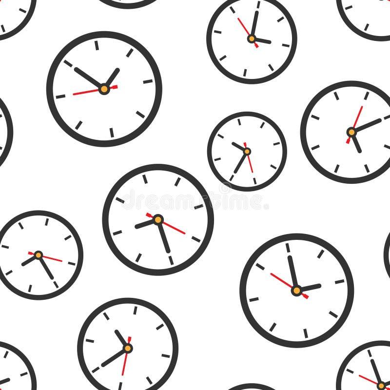 时钟标志象无缝的样式背景 时间管理在白色被隔绝的背景的传染媒介例证 定时器事务 皇族释放例证