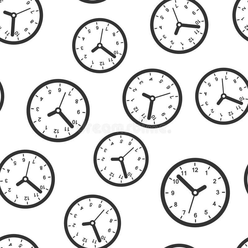 时钟标志象无缝的样式背景 时间管理在白色被隔绝的背景的传染媒介例证 定时器事务 库存例证