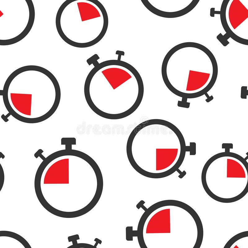 时钟标志象无缝的样式背景 时间管理在白色被隔绝的背景的传染媒介例证 定时器事务 向量例证