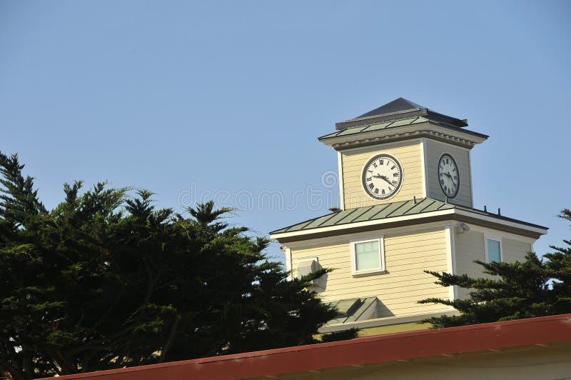 时钟海岸太平洋塔 免版税库存照片
