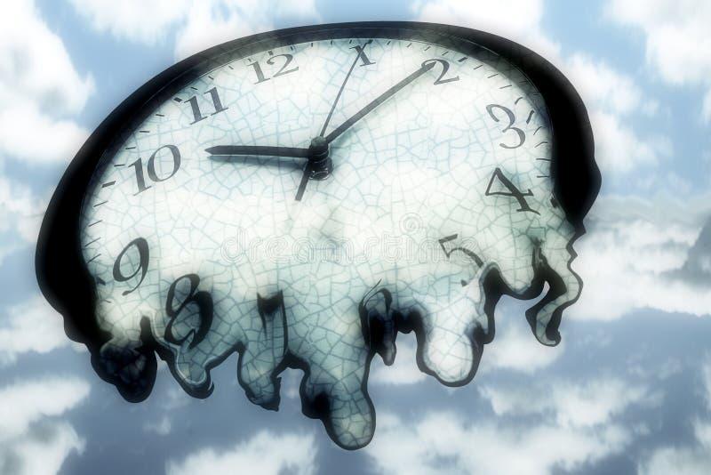 时钟熔化 皇族释放例证