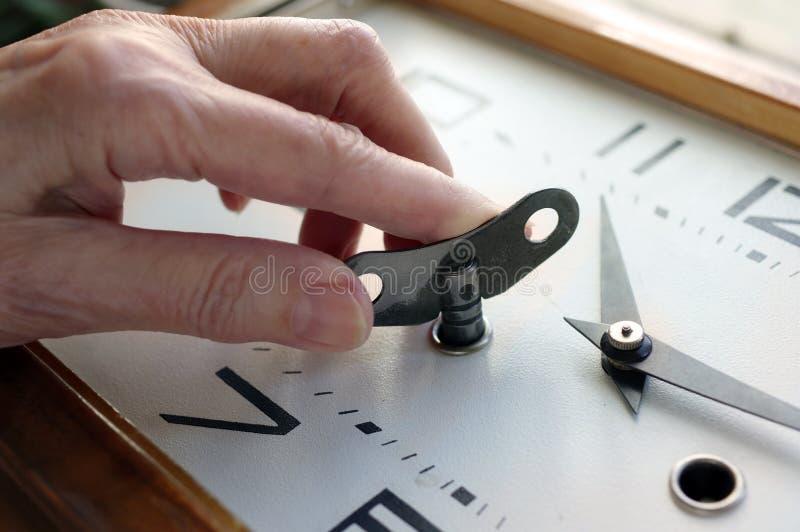 时钟的手Windin 免版税图库摄影