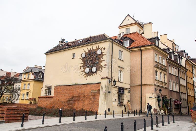 时钟签署街道华沙黄道带 库存图片