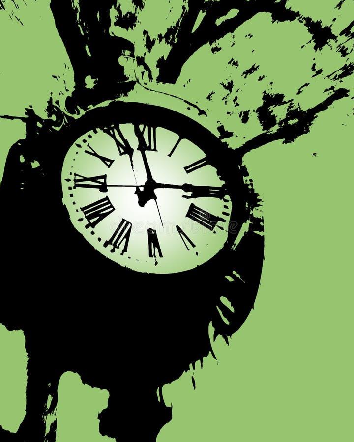 时钟绿色塔 库存例证