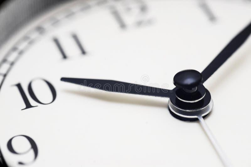 时钟表盘 关闭顺时针 背景概念查出的目的程序时间白色 与手表或时钟的时间概念 免版税库存图片