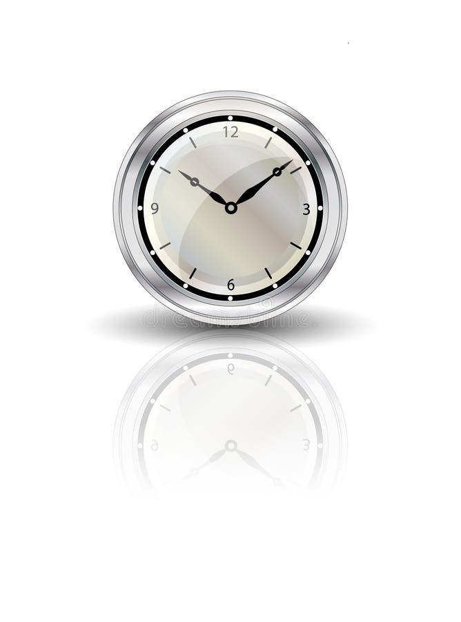 时钟被反射的白色 皇族释放例证