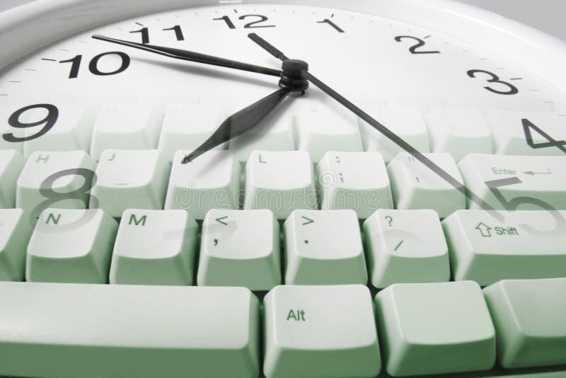 时钟计算机键盘 免版税库存图片