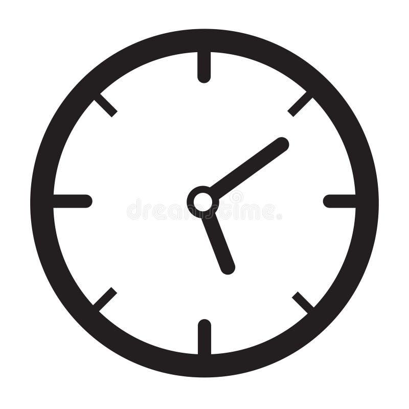 时钟象时间在白色隔绝的手表传染媒介 库存例证