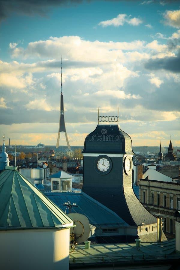 时钟里加屋顶塔 图库摄影