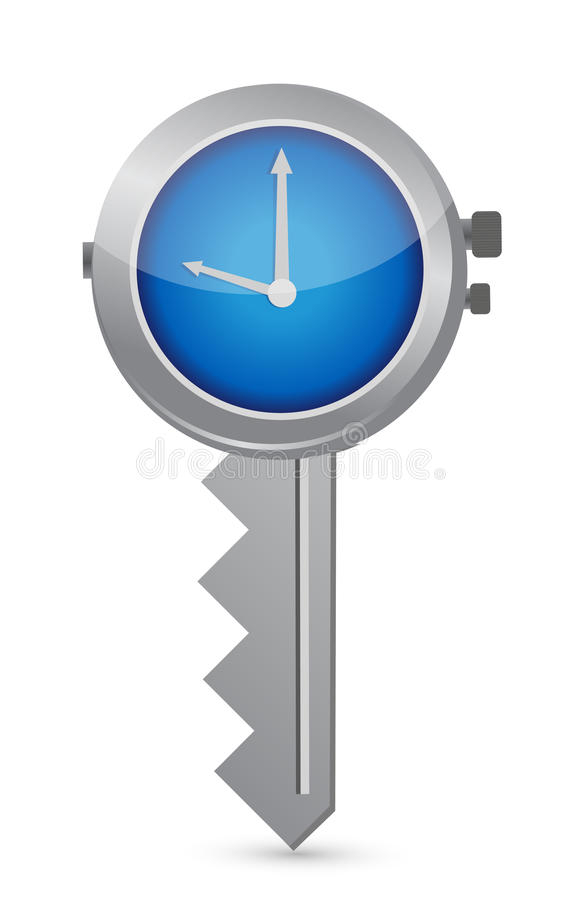 时钟钥匙。成功的时间安排的概念 皇族释放例证