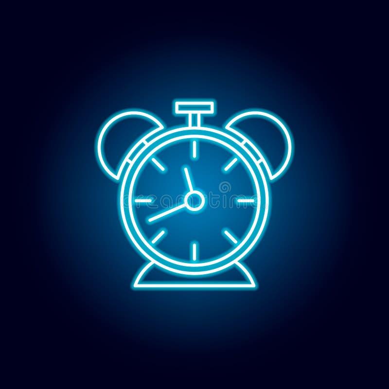 时钟,定时器,小时在霓虹样式的概述象 教育例证线象的元素 标志,标志可以为网使用, 库存例证