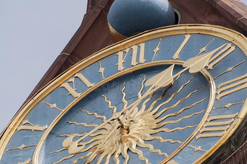 时钟细节, Frauenkirche钟琴  免版税图库摄影