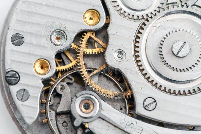 时钟/钟表机构-怀表-宏观细节 免版税库存照片