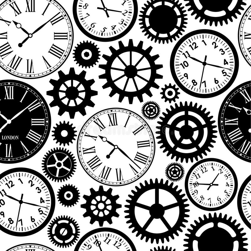 时钟` s无缝的样式 库存例证