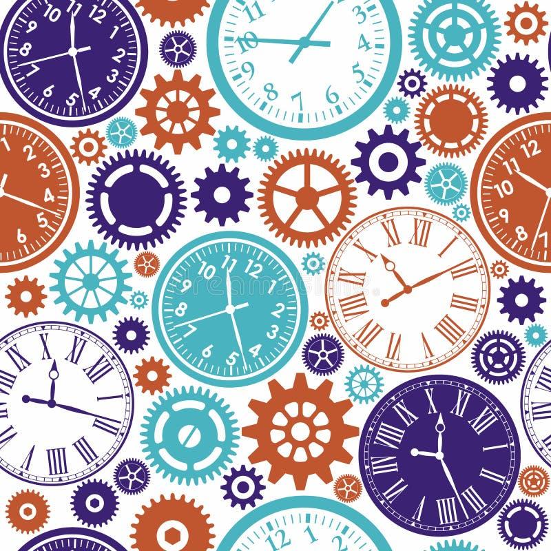 时钟` s无缝的样式 向量例证