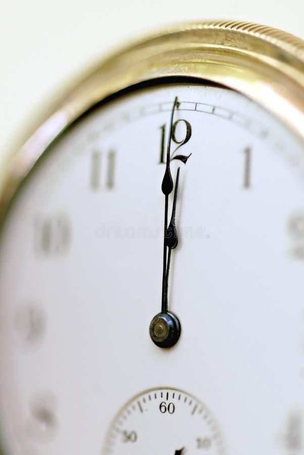 时钟o十二垂直 免版税库存照片