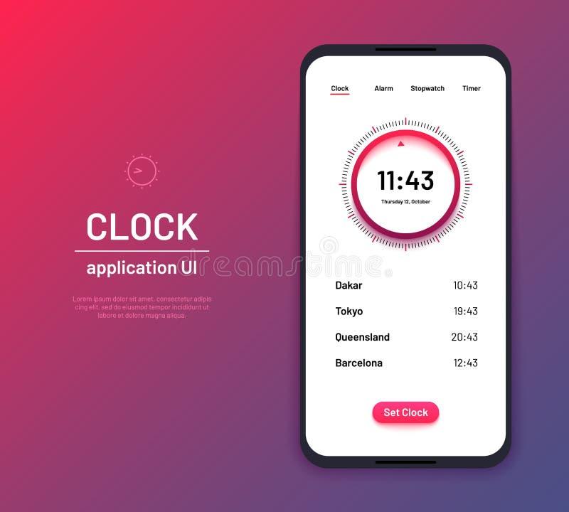 时钟ui 时间读秒接口成套工具 现代时钟屏幕电话应用传染媒介布局 库存例证