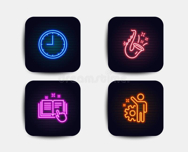 时间、爵士乐和技术文献象 雇员标志 办公室时钟,萨克斯管,指南 钝齿轮 向量 皇族释放例证