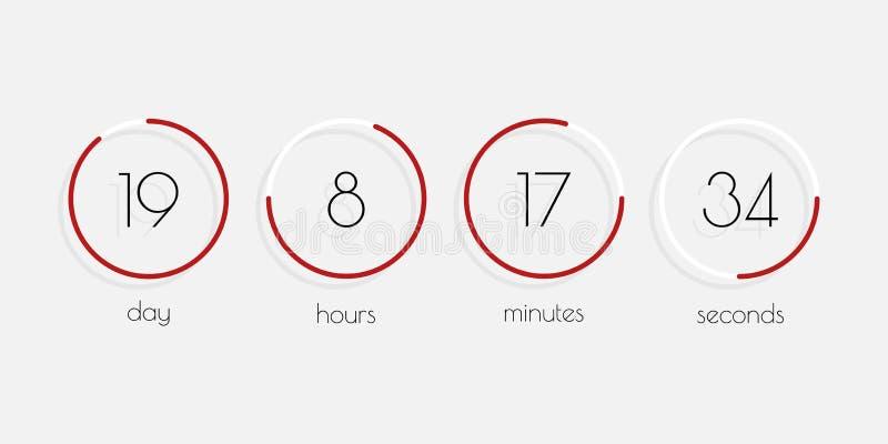时间例证 天,小时,分钟,秒钟 轻碰读秒定时器 传染媒介与阴影的时钟计数器在平的样式 向量例证