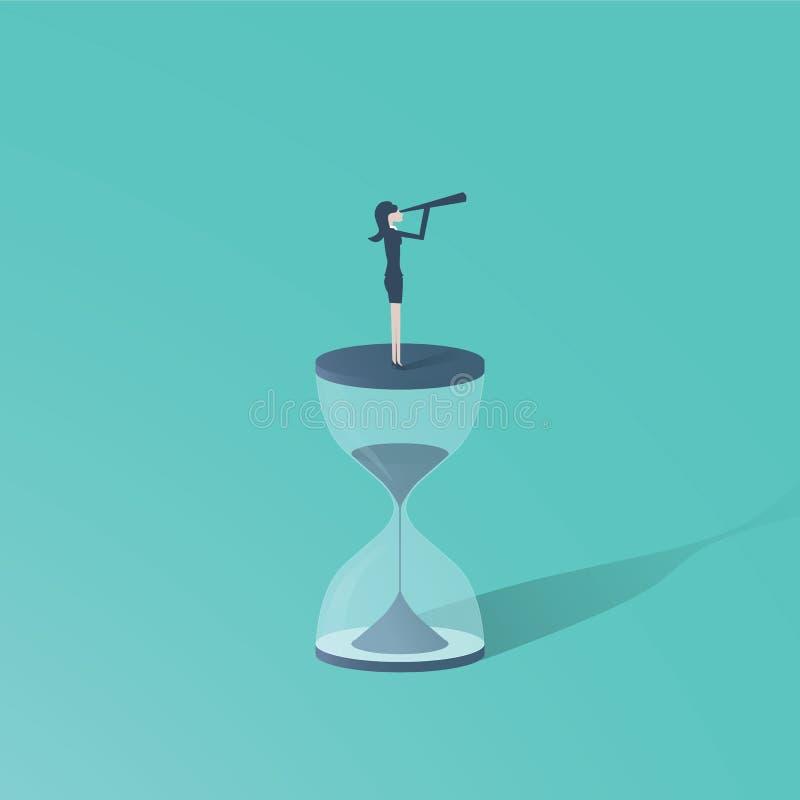 时间到与站立在沙子时钟或滴漏顶部的妇女的运动有望远镜的 未来的标志妇女的 向量例证