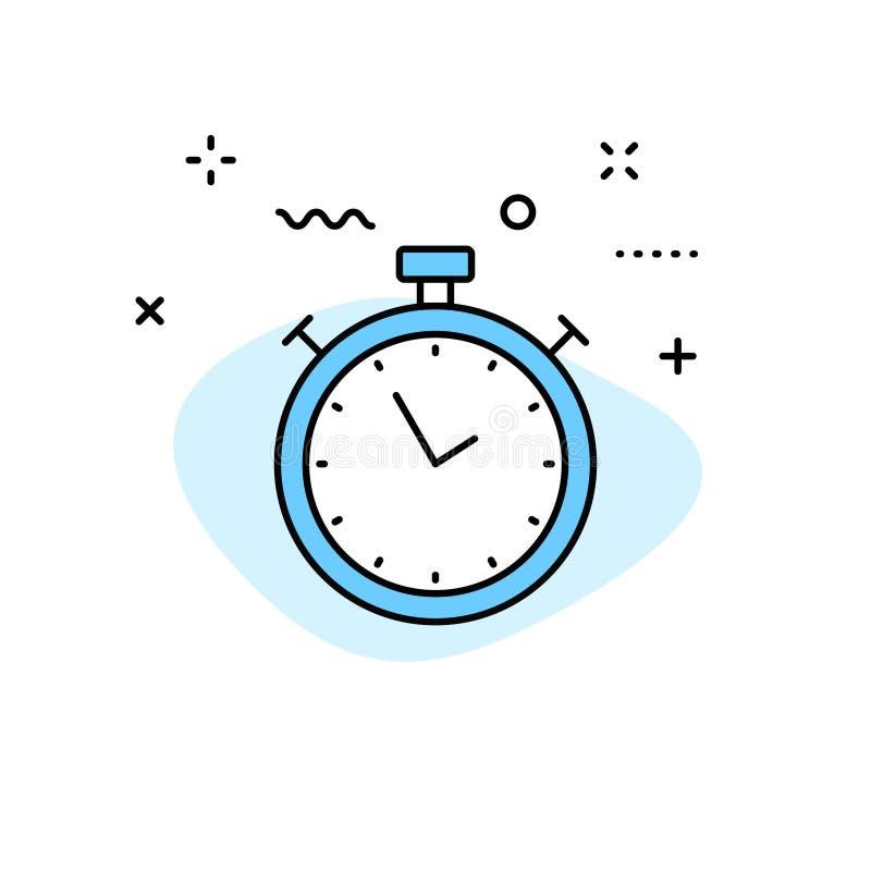 时间和时钟在线型的网象 定时器,速度,警报,日历 也corel凹道例证向量 库存例证