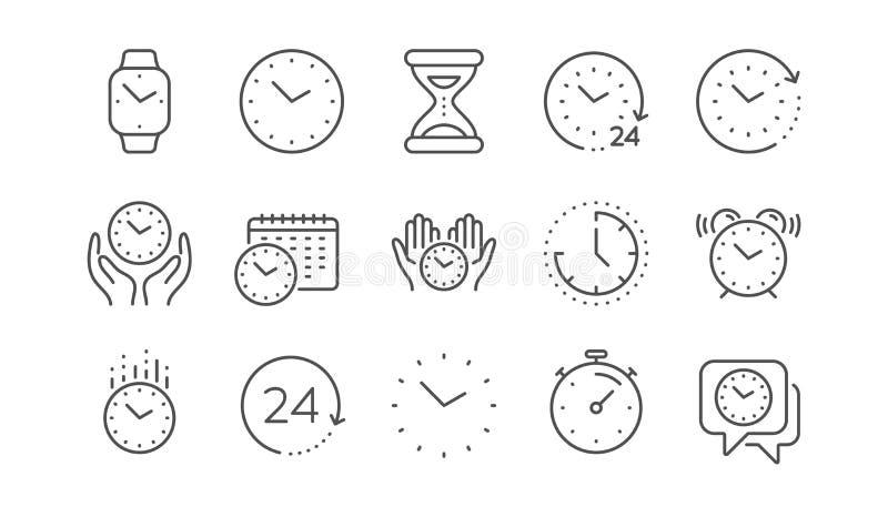 时间和时钟线象 定时器、警报和Smartwatch 线性集合 ?? 向量例证