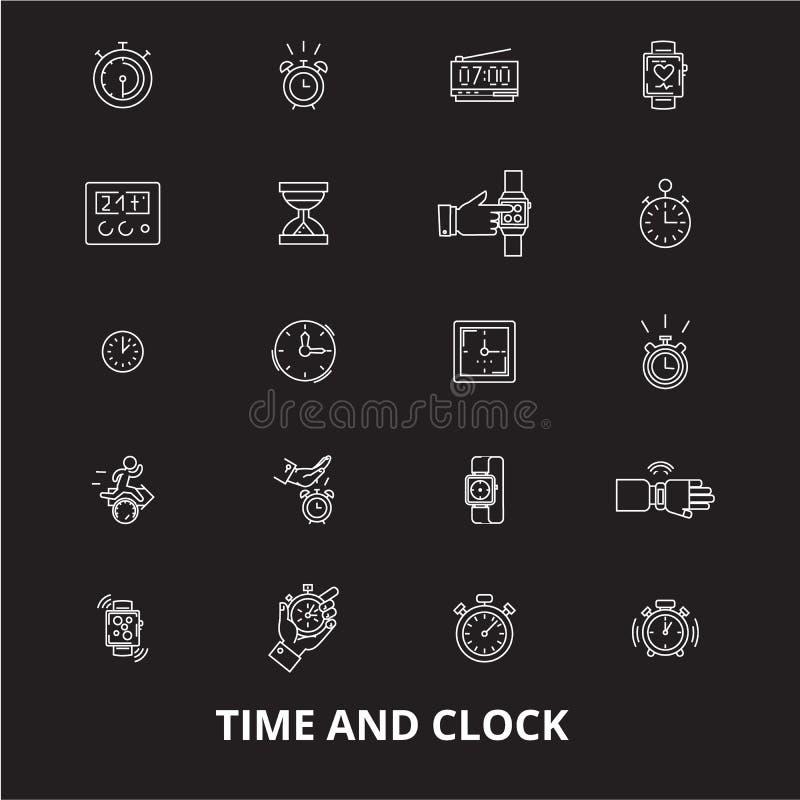 时间和时钟编辑可能的线象导航在黑背景的集合 时间和时钟白色概述例证,标志 库存例证