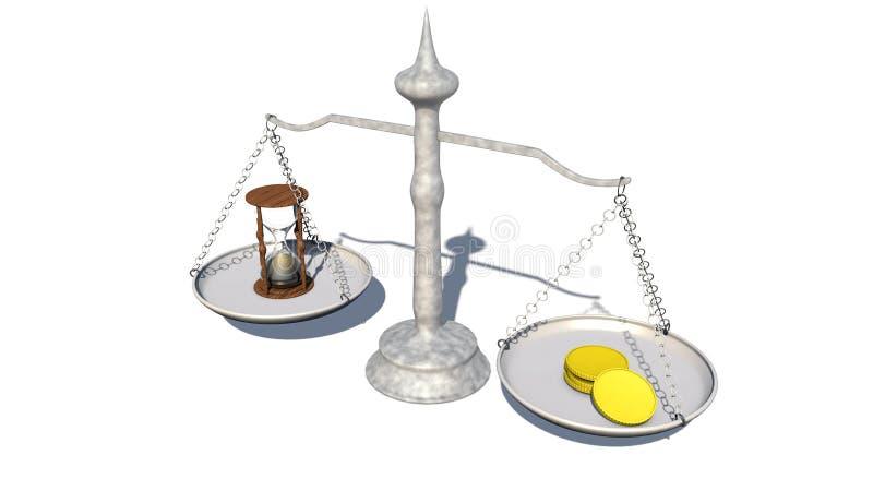 时间和金钱平衡的概念  滴漏和硬币在等级 皇族释放例证