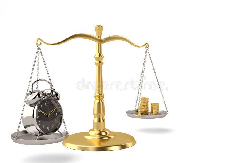 时间和金钱时间一个平衡的标度是金钱3D例证 皇族释放例证