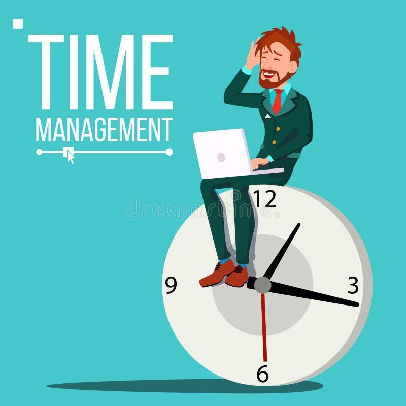 时间安排人传染媒介 巨大的时钟,手表 控制 耽搁 挥动白色的蓝色业务设计例证插入行动空间文本 库存例证