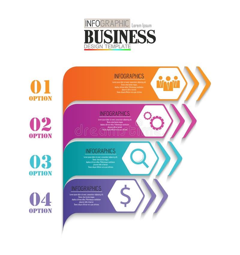 时间安排信息图形数据形象化设计模板与4个选择的企业概念 向量例证