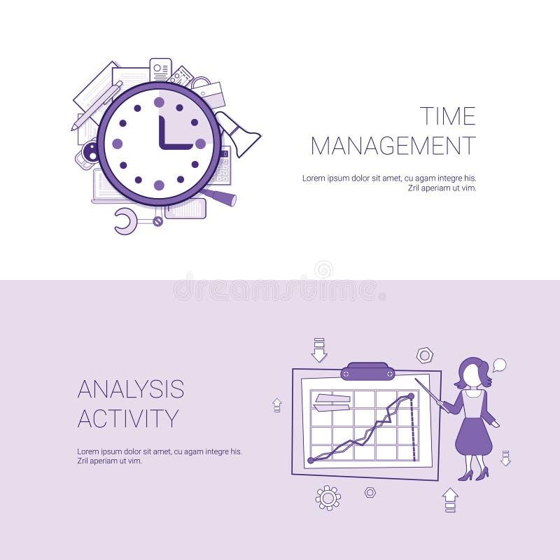 时间安排和分析活动概念模板网横幅与拷贝空间 皇族释放例证