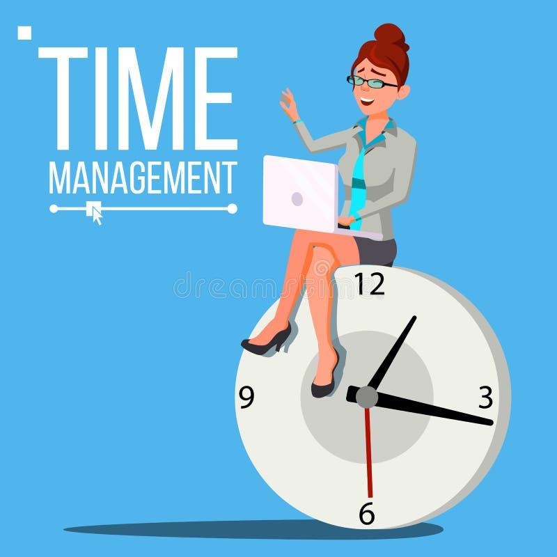时间安排妇女传染媒介 管理 工作过程的组织 挥动白色的蓝色业务设计例证插入行动空间文本 库存例证
