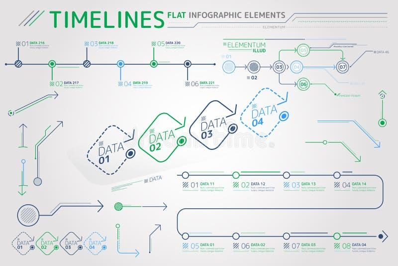 时间安排平的Infographic元素 库存例证