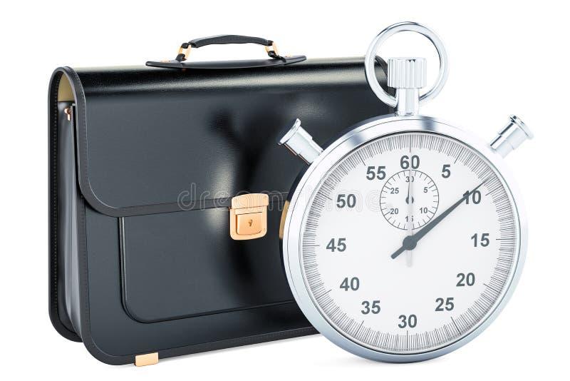 时间安排概念,有计时表的公文包 3D renderin 皇族释放例证