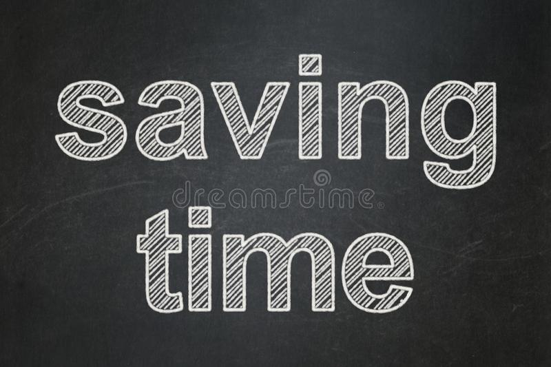 时间安排概念:在黑板背景的保存的时间 库存例证