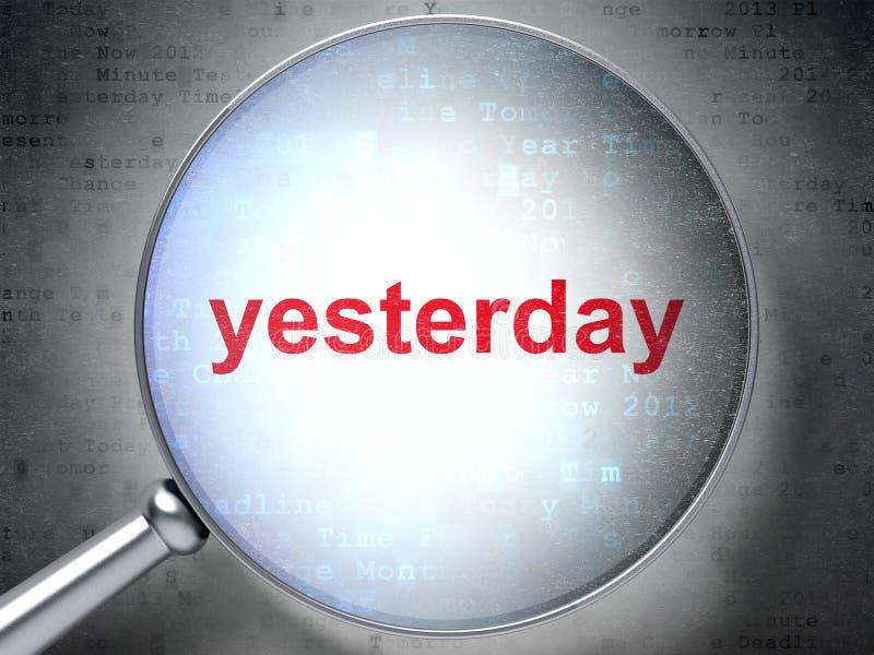 时间安排概念:昨天与光学玻璃 皇族释放例证