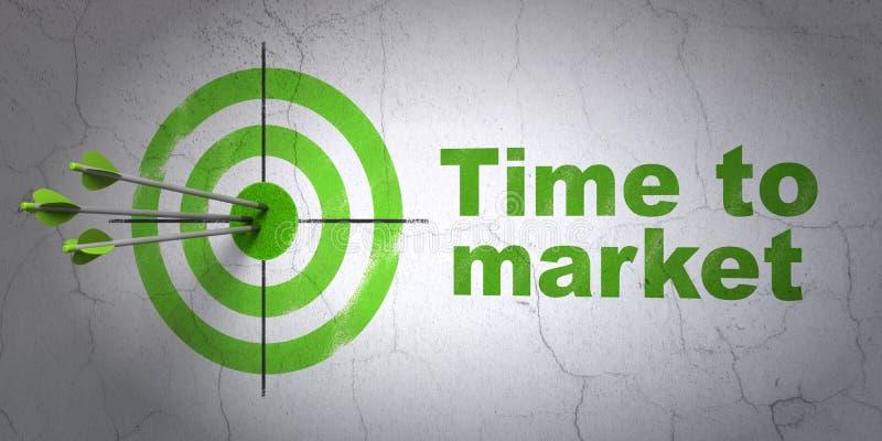 时间安排概念:目标和上市时间在墙壁背景 皇族释放例证