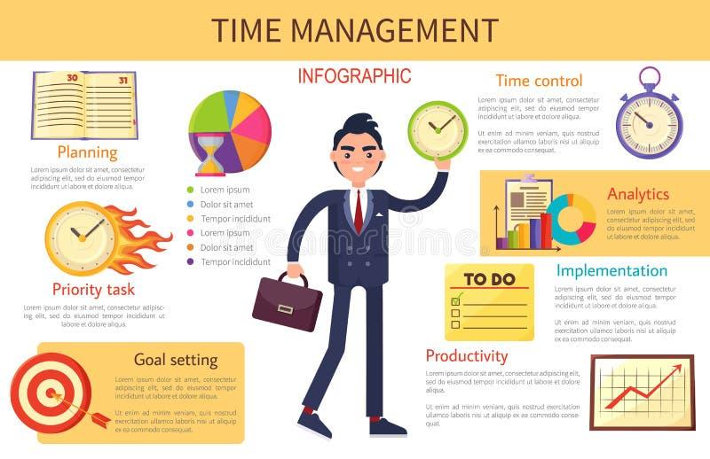 时间安排计划控制明亮的横幅 向量例证