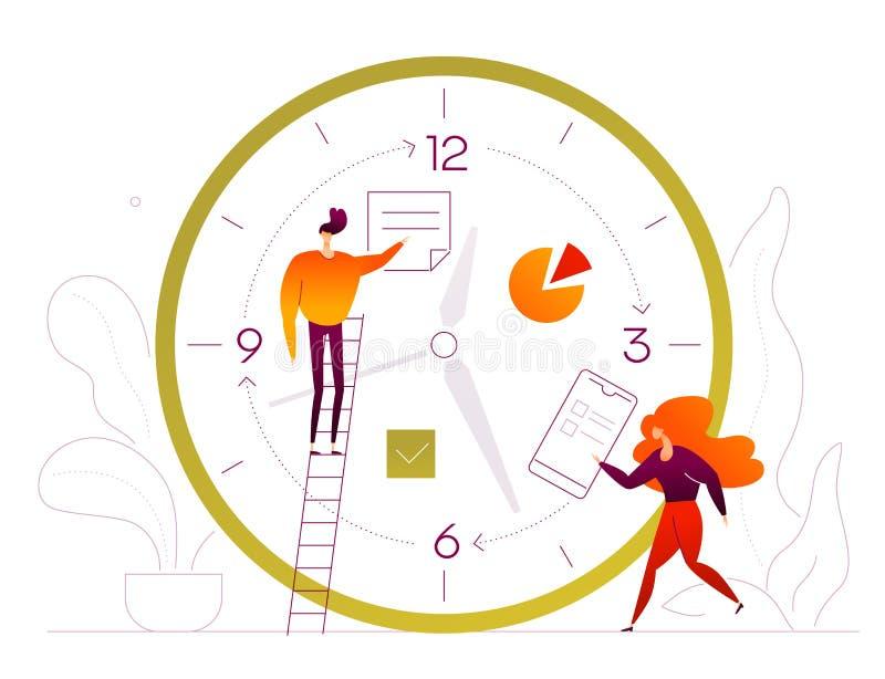 时间安排-平的设计样式五颜六色的例证 向量例证