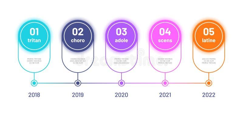 时间安排infograph 企业工作流图,与5个数字选择的处理流程图 现代infographics传染媒介 库存例证
