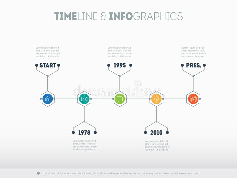 时间安排infographic与象和buttoms 传染媒介时线或 皇族释放例证