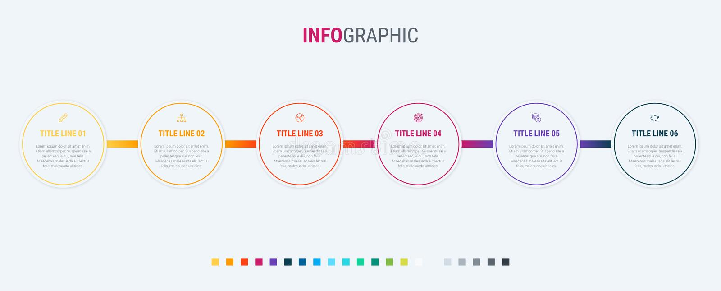时间安排infographic设计传染媒介 6步,环绕了工作流布局 传染媒介infographic时间安排模板 皇族释放例证