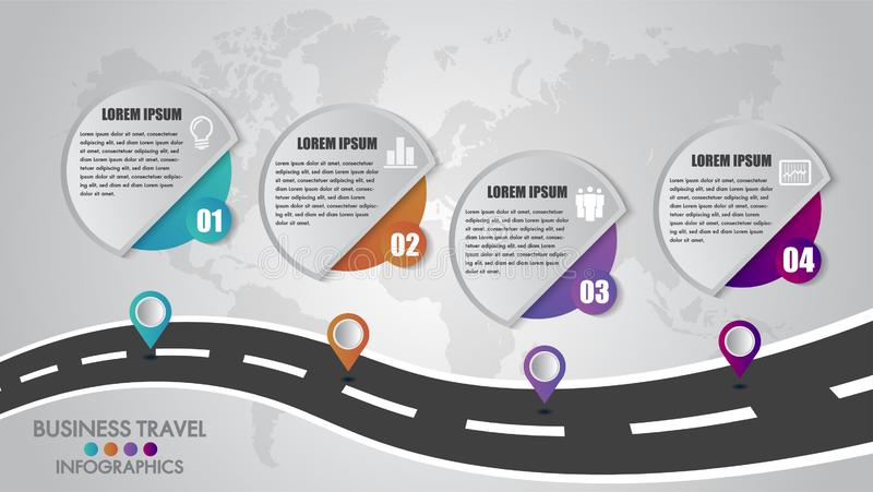 时间安排Infographics模板4选择设计与一个路线和航行尖地方您的数据的 也corel凹道例证向量 向量例证