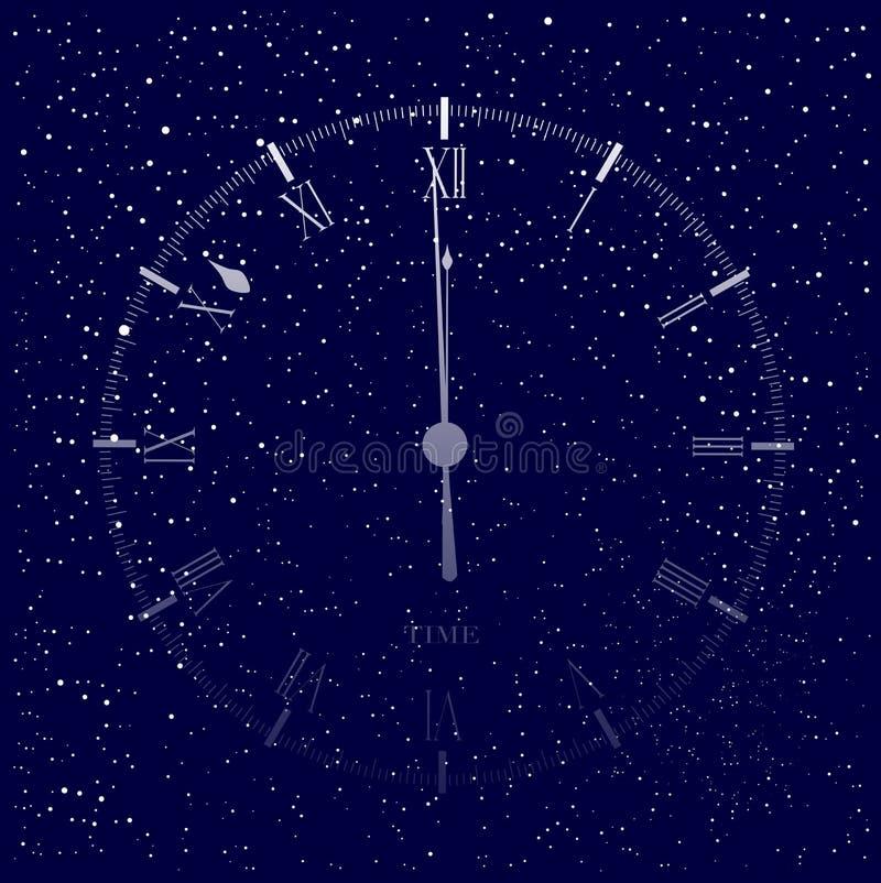 时间是几乎午夜背景 向量例证