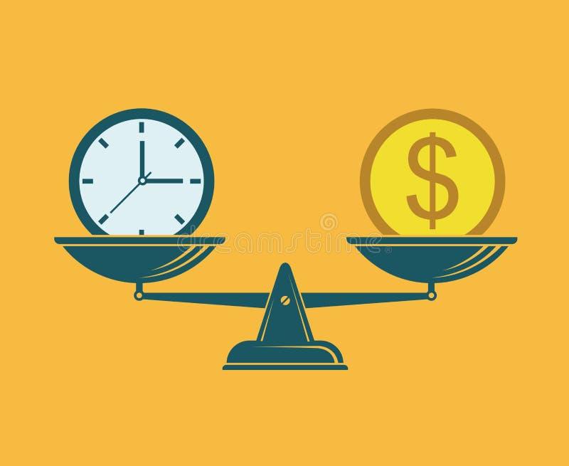 时间是在等级的金钱 库存例证