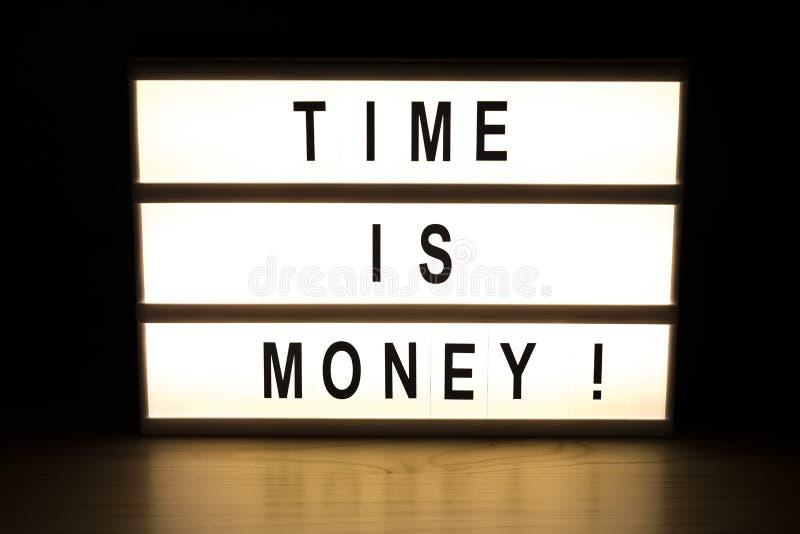 时间是金钱灯箱标志板 免版税库存照片