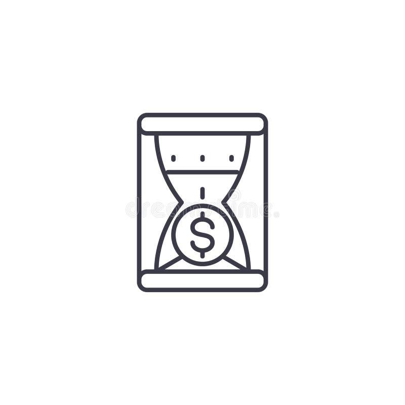 时间是金钱线性象概念 时间是金钱线传染媒介标志,标志,例证 向量例证