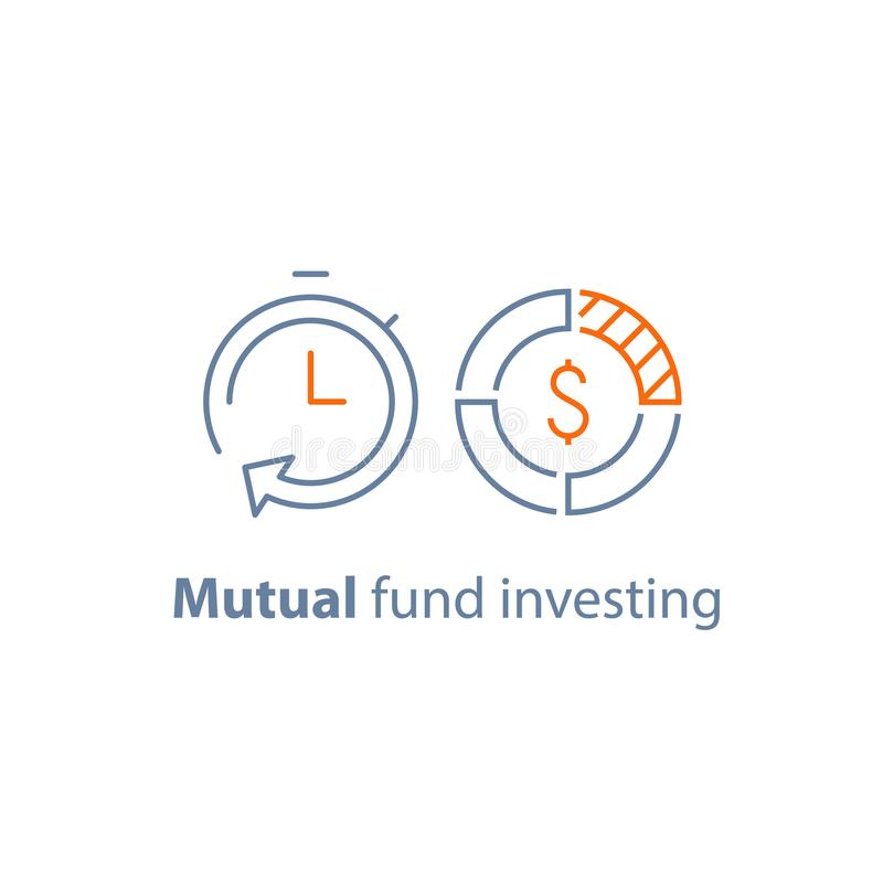 时间是金钱,基金管理,长期投资,财政战略,财务解答,批准贷款,退休金储款 皇族释放例证