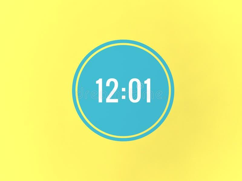 时间是12在蓝色圈子的o一 免版税库存图片